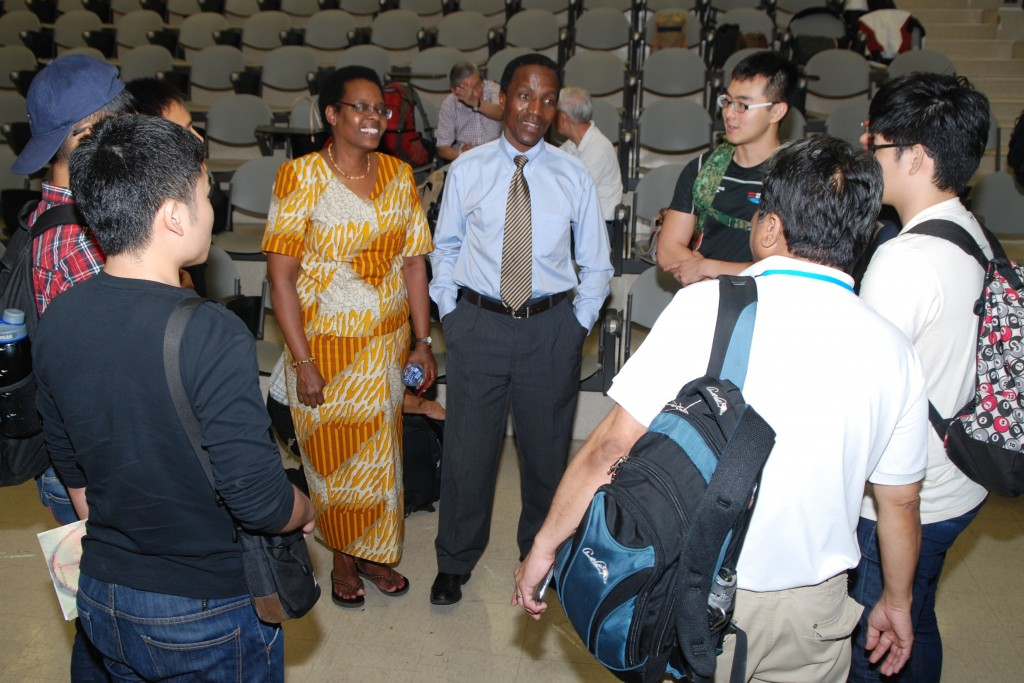 Mutua Mahiaini and Stephanie catching a light moment with students from The NavTeens at the National Conference last year.